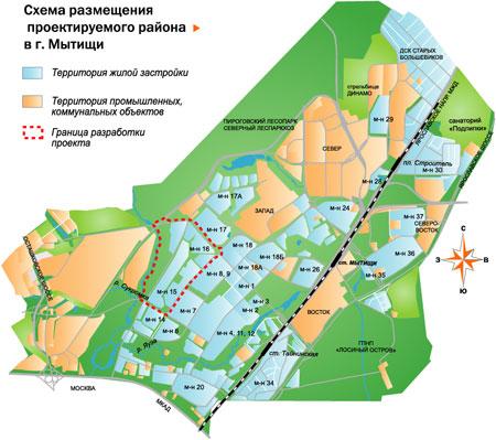 Схема размещения проектируемого района.