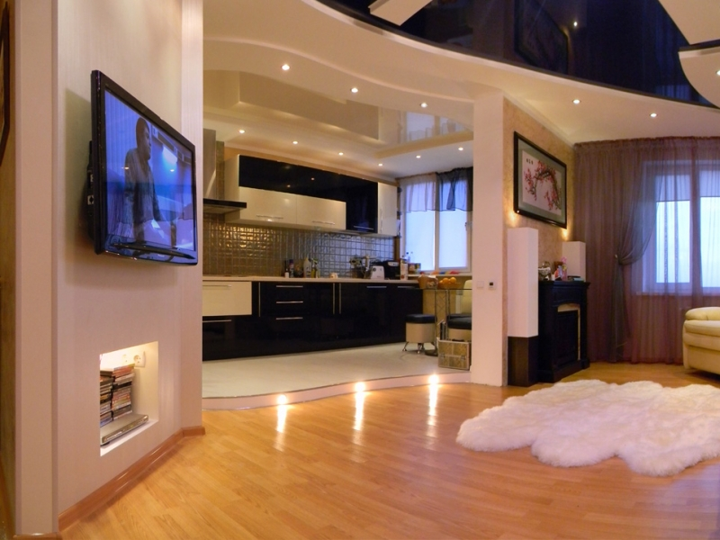 повысить объединение комнаты и кухни фото снимки
